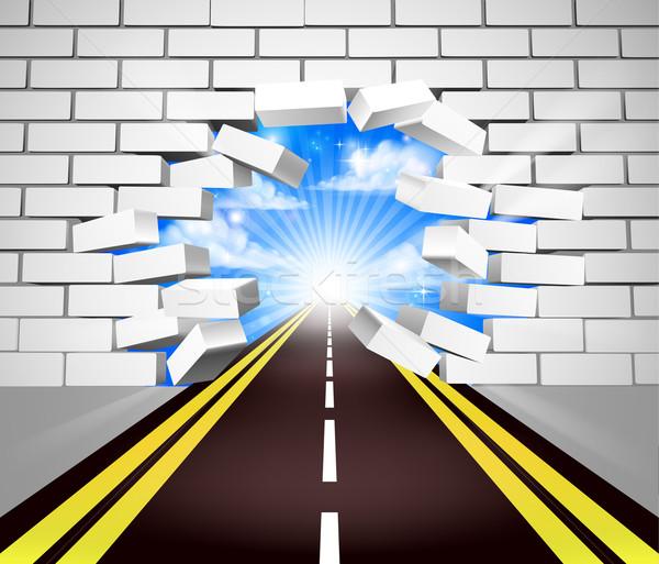 Road Breaking Wall Concept Stock photo © Krisdog