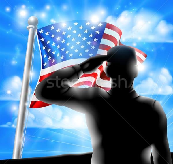 Silhouette Soldier Saluting American Flag Stock photo © Krisdog