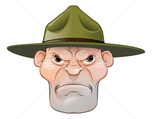 сердиться дрель сержант Cartoon иллюстрация армии Сток-фото © Krisdog