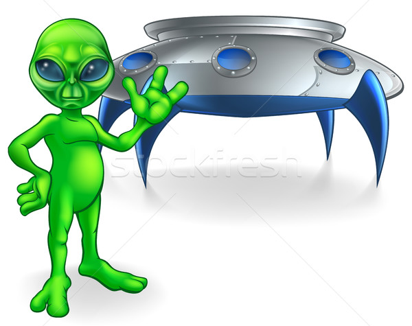 Alien and Flying Saucer Space Ship Stock photo © Krisdog