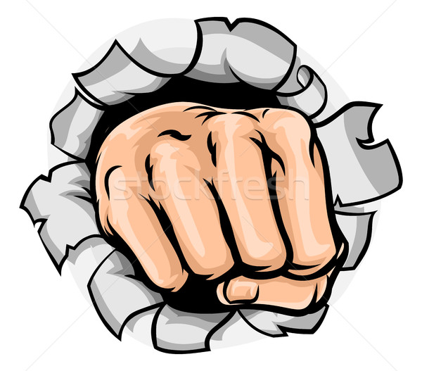 Fist Hand Punching Hole Stock photo © Krisdog