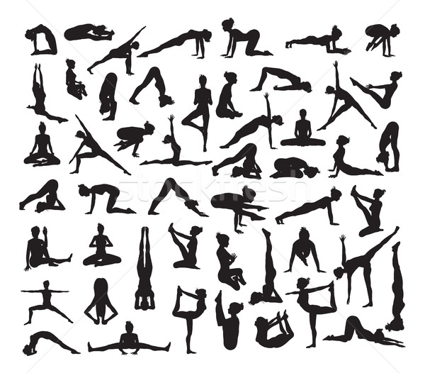 Yoga Poses Silhouettes Stock photo © Krisdog