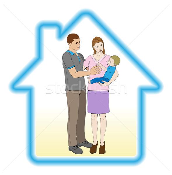 Dom rodzinny młodych rodziny matka ojciec dziecko Zdjęcia stock © Krisdog