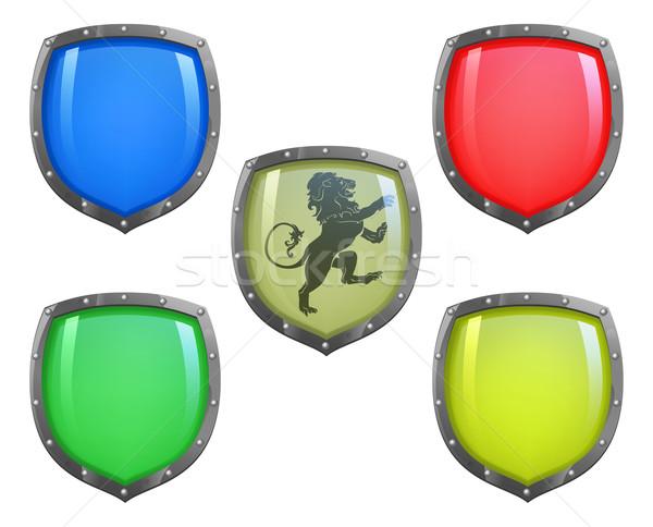 Shields in different colours Stock photo © Krisdog
