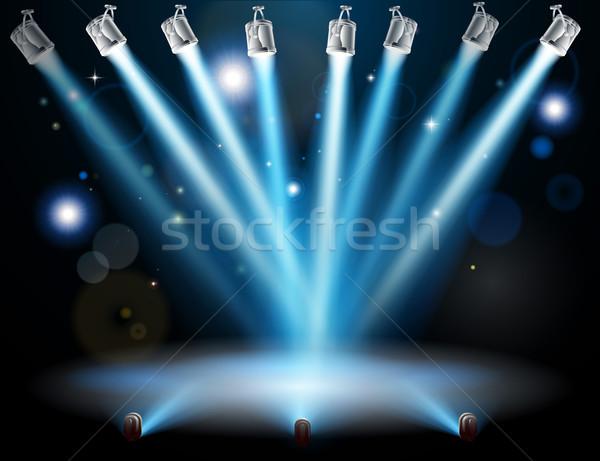 Stock fotó: Kék · fények · fókuszált · egy · folt · centrum