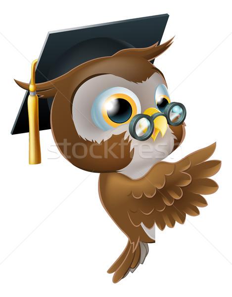 Bilge baykuş işaret imzalamak örnek mutlu Stok fotoğraf © Krisdog