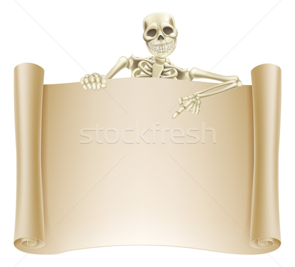 Skeleton Scroll Sign Stock photo © Krisdog