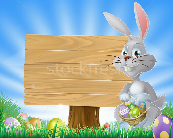 Easter eggs bunny and sign  Stock photo © Krisdog