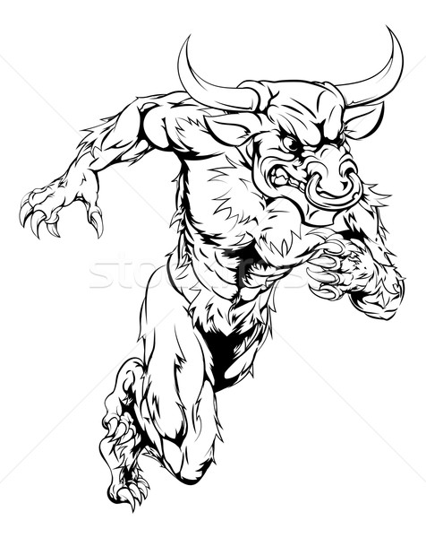 Minotaur bull sports mascot running Stock photo © Krisdog