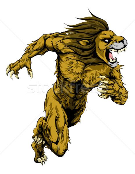 Lion sports mascot running Stock photo © Krisdog