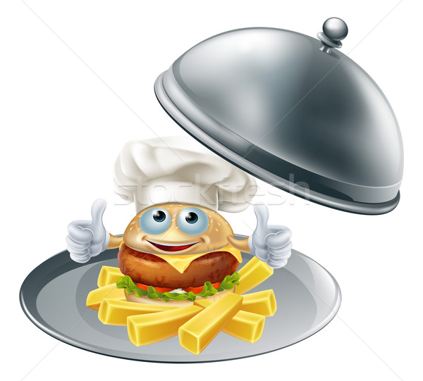 Burger mascot and chips on platter Stock photo © Krisdog