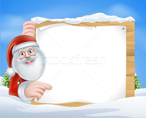 Christmas Cartoon Santa Sign Stock photo © Krisdog