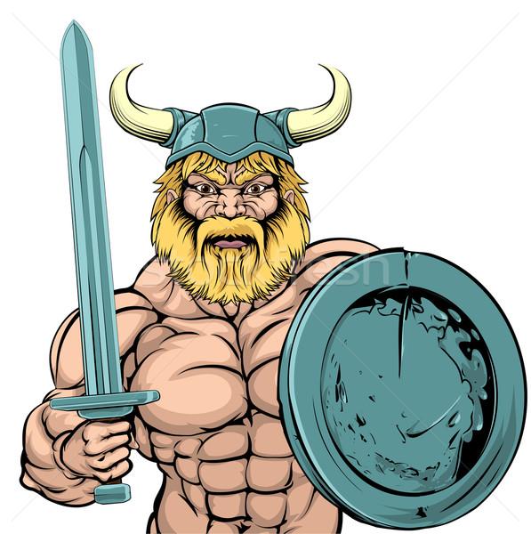 Viking savaşçı maskot örnek sert bakıyor Stok fotoğraf © Krisdog