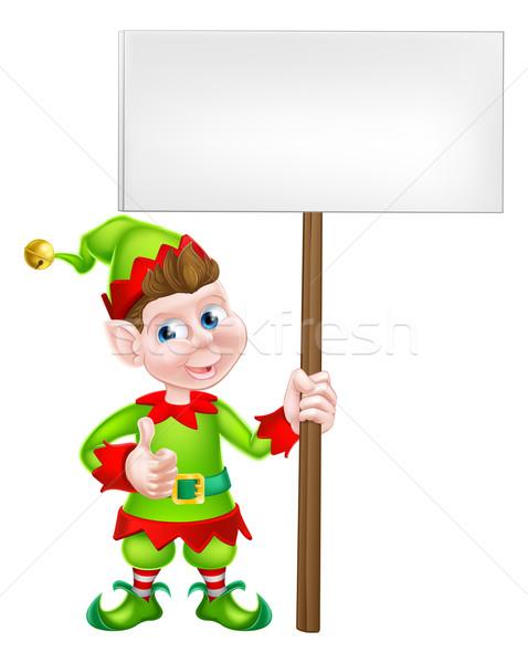 Assinar elfo desenho animado natal Foto stock © Krisdog