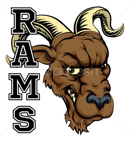 Mascota ilustración Cartoon carnero equipo deportivo texto Foto stock © Krisdog