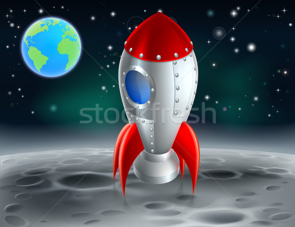 Cartoon Rocket on the Moon Stock photo © Krisdog