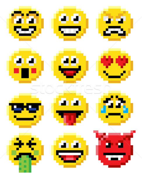 Pixel Art Emoji Emoticon Set Stock photo © Krisdog