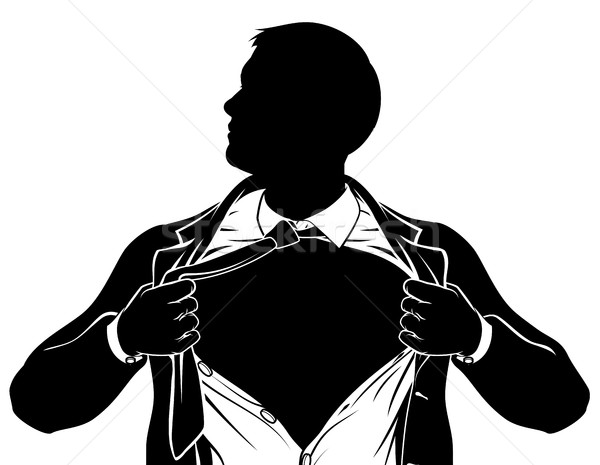 Stock photo: Superhero Business Man Tearing Shirt Showing Chest