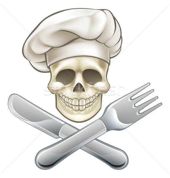Pirate Crossbones Chef Cartoon Stock photo © Krisdog