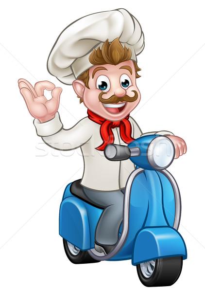 Rajz házhozszállítás moped szakács pék karakter Stock fotó © Krisdog