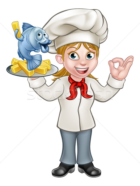 Cartoon chef poissons puces femme Homme Photo stock © Krisdog