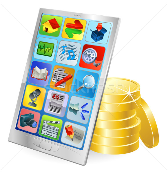 Phone or tablet PC money concept Stock photo © Krisdog