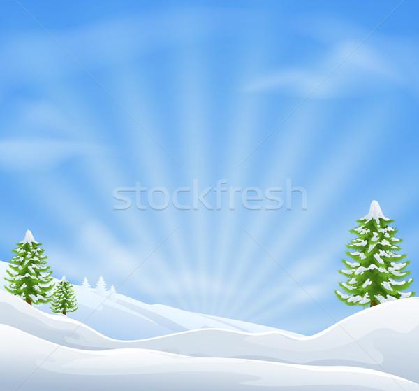 Karácsony hó tájkép háttér égbolt ünnep Stock fotó © Krisdog