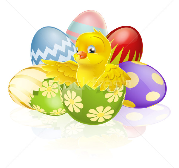 Easter chick in egg Stock photo © Krisdog