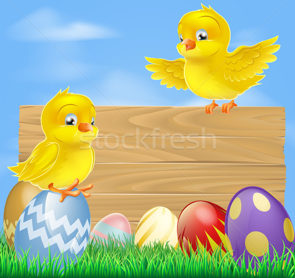 Easter chicks and wooden sign Stock photo © Krisdog