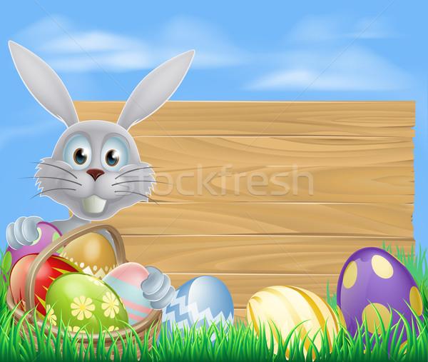 Happy Easter bunny and chocolate eggs sign Stock photo © Krisdog