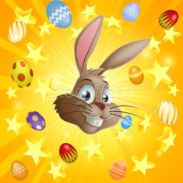 Pasen konijn chocolade eieren illustratie gezicht Stockfoto © Krisdog