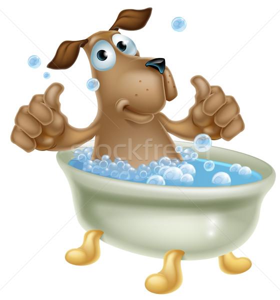 漫画 犬 泡風呂 実例 かわいい マスコット ストックフォト © Krisdog