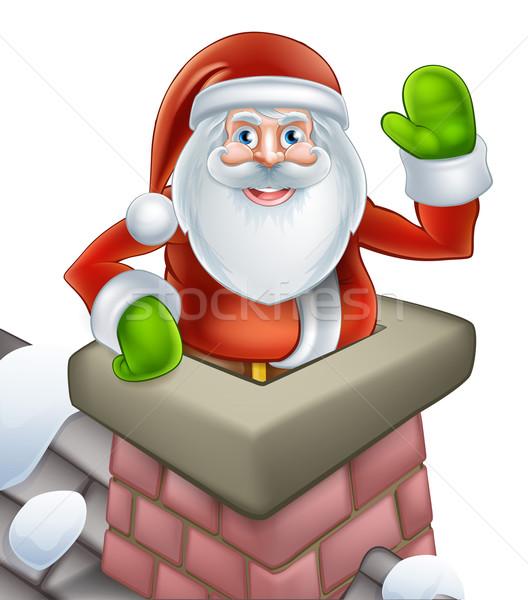 Święty mikołaj christmas komin scena ilustracja Zdjęcia stock © Krisdog