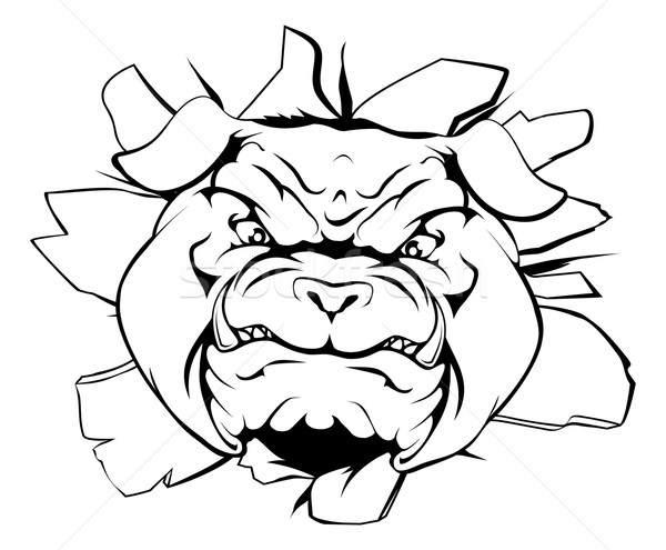 Bulldog character smashing out Stock photo © Krisdog
