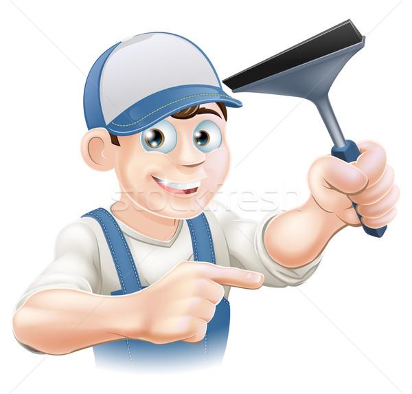 Limpador de janelas feliz mão indicação negócio Foto stock © Krisdog