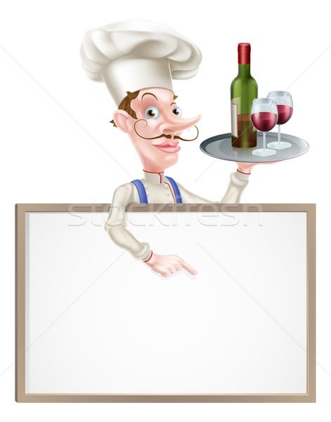 Stock fotó: Bor · szakács · felirat · rajz · tart · borosüveg