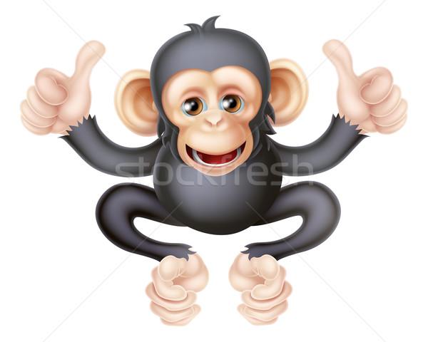 şempanze maymun karikatür gibi karakter Stok fotoğraf © Krisdog