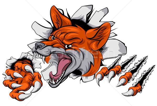 Fox mascot tearing through Stock photo © Krisdog