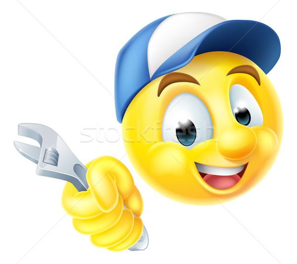 Plumber Mechanic Emoticon Emoji with Spanner  Stock photo © Krisdog