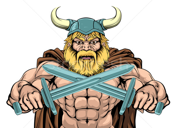 Viking Warrior Holding Swords Stock photo © Krisdog