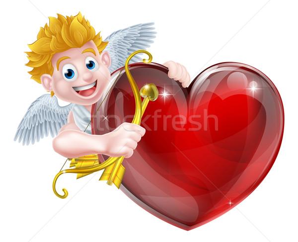 Hart valentijnsdag engel cartoon goud boeg Stockfoto © Krisdog