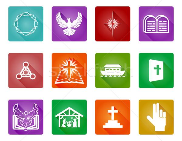 Stockfoto: Christelijke · ingesteld · religieuze · iconen · symbolen