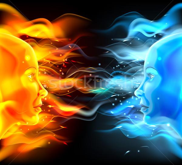 Facce due fuoco fiamme uno Foto d'archivio © Krisdog