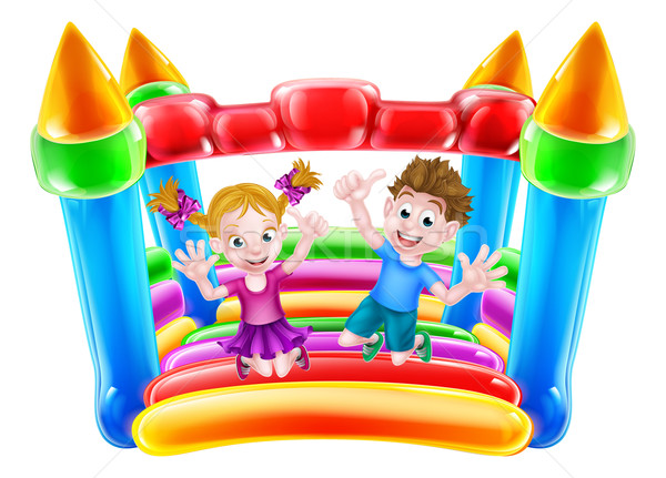Kids Jumping on Inflatable Castle Stock photo © Krisdog