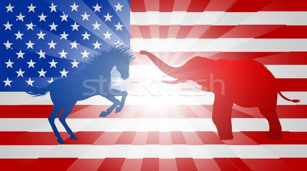 Amerikai választás szamár elefánt sziluettek harcol Stock fotó © Krisdog