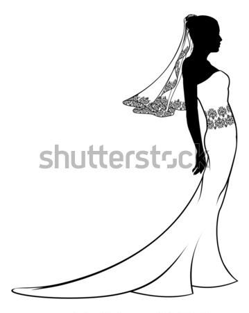 Wedding Bride Silhouette Holding Flowers Stock photo © Krisdog