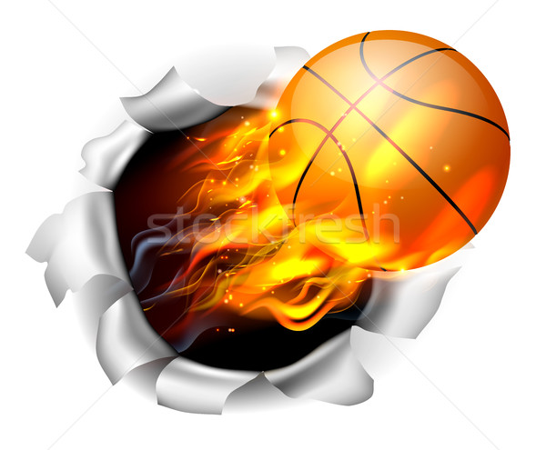 Stock photo: Flaming Basketball Ball Tearing a Hole in the Background