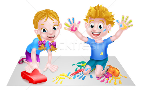 Cartoon Boy and Girl with Car and Paints Stock photo © Krisdog