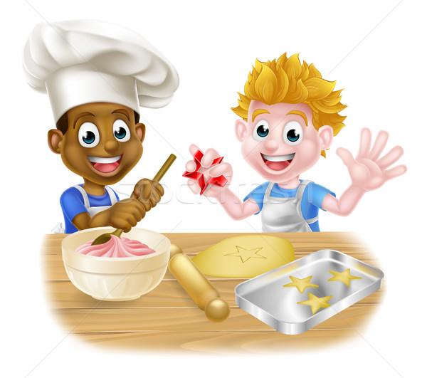 Cartoon Boys Baking Stock photo © Krisdog