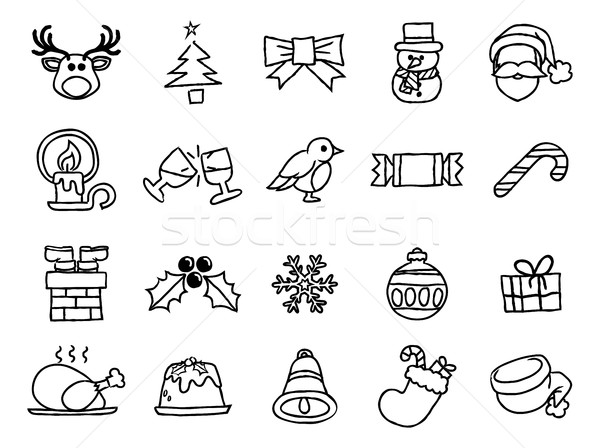 Christmas Hand Drawn Icon Set Stock photo © Krisdog